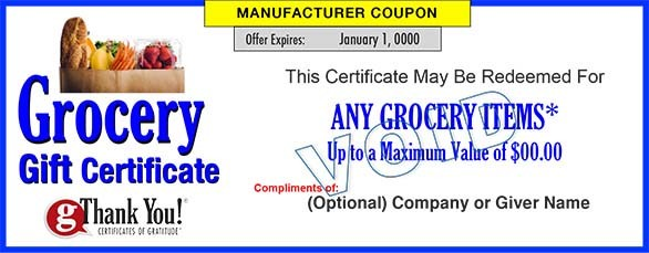 Grocery Gift Certificates