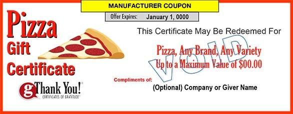 Pizza Gift Certificates
