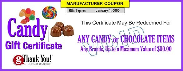 Candy Gift Certificates