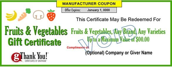 Fruit & Vegetable Gift Certificates