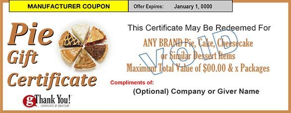 Pie Gift Certificates