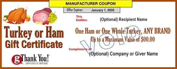 Turkey or Ham Gift Certificates
