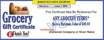 gThankYou! Grocery Gift Certificate