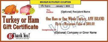 gThankYou! Turkey Or Ham Gift Certificate