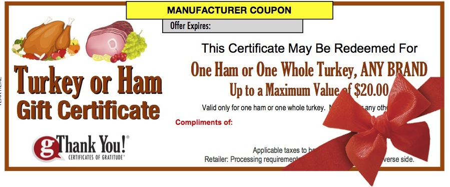 Give employees the gift of choice with a gThankYou! Turkey Or Ham Gift Certificate!