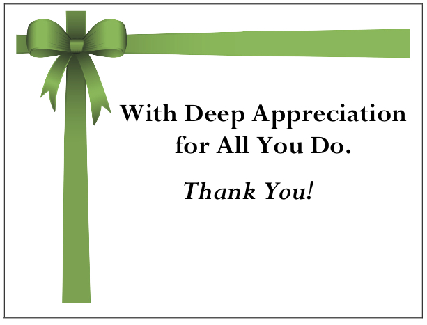 gThankYou! - Green Bow Enclosure Card