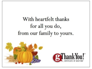 gThankYou! Fall Enclosure Card with Company Logo