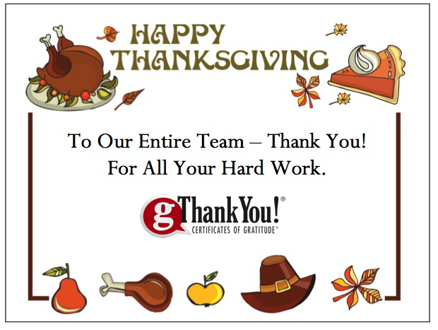 gThankYou! Turkey Gift Certificates come with FREE Enclosure Cards with your personal message and company logo.
