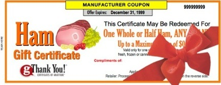gThankYou! Ham Gift Certificates - the perfect Christmas Ham Gift!