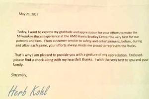 Herb Kohl letter of gratitude