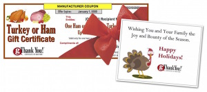 Delight your workforce with turkey or ham gift certificates!