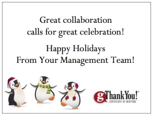 Celebrate your team with gThankYou! Certificates and Custom 'Thank You' Cards