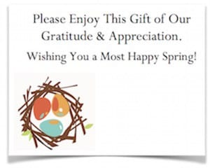 Free spring enclosure card for workplace gratitude sharing