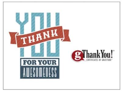 "Build workplace positivity with gThankYou free ""Thank You"" Cards with every purchace of our Certificates of Gratitude."
