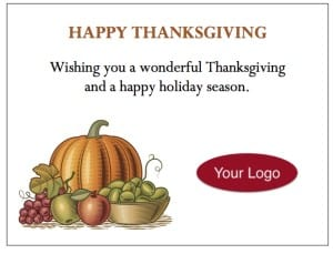 gThankYou Thanksgiving Enclosure Cards - customize with your message and logo!