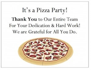 Throw a pizza party for the whole workplace or share gThankYou! Pizza Gift Certificates for employees to enjoy and share with families and friends.