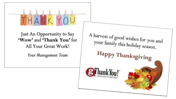 Employee Appreciation Gift Certificates - Free Thank You Cards!
