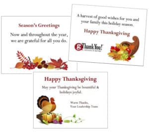 Add a personalized note of thanks with our free cards to share with your thanksgiving gift certificates!