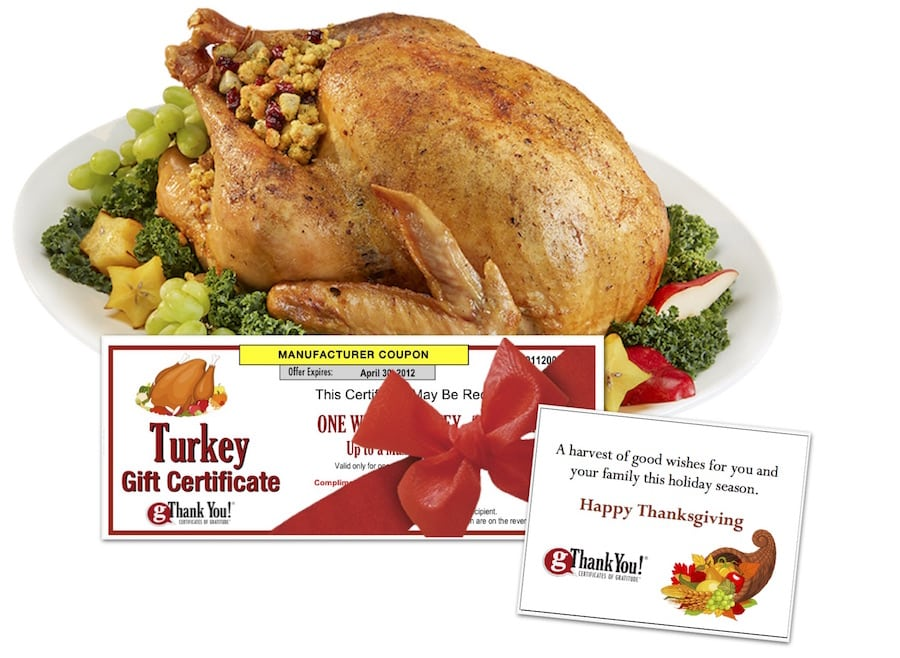 Buying bulk turkey gifts for employee thanksgiving gifts is easy when you choose gThankYou! Turkey Gift Certificates!
