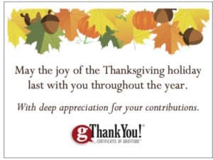 FREE Thanksgiving themed Enclosure Cards with any purchase of gThankYou employee Thanksgiving gifts.