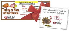 gThankYou! Turkey Or Ham Gift Certificates come with FREE Enclosure Cards for your Holiday 'Thanks'.