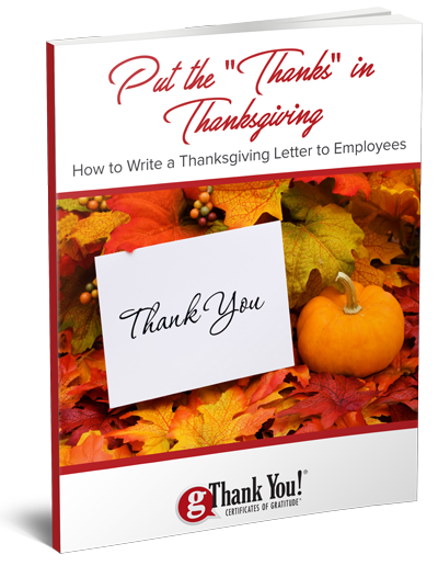"Download our free eBook, ""How to Write a Thanksgiving Letter to Employees""."