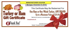 gThankYou Corporate Turkey Or Ham Gift Certificate Image