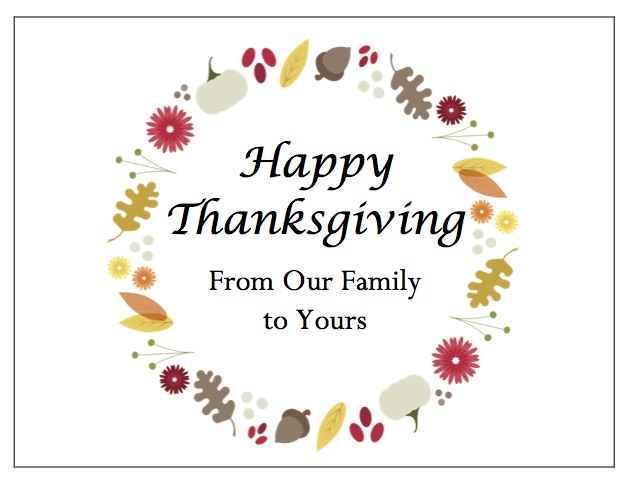 gThankYou Thanksgiving Card Designs: Thanksgiving Wreath