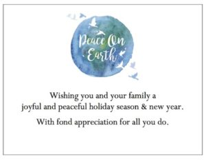 """Peace On Earth"" Employee Gift Card for your employee Christmas gifts."