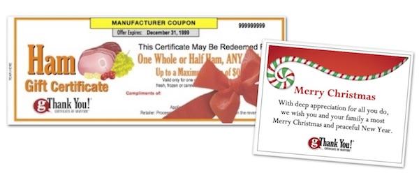 gThankYou Christmas ham gift and custom Christmas Card
