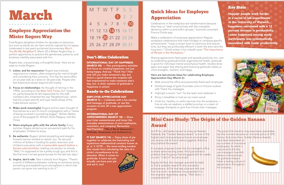 This month to month Calendar highlights easy opporunities to share your thanks with your workplace.