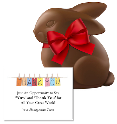 Chocolate Easter Bunny and Thank You Card - a sweet and thoughtful employee Easter gift