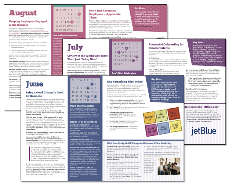Click to download your free Employee Appreciation Calendar for 2019 from gThankYou. It's full of everyday employee thank you ideas, case studies and don't miss celebrations!