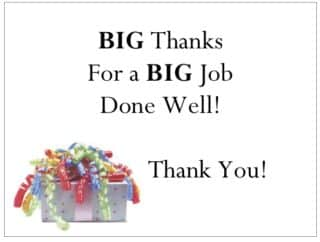 Recognize employees with a note of thanks that is specific and heartfelt