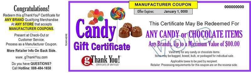 A gThankYou! Candy Gift Certificate can be personalized with recipient and giver names – all for free!