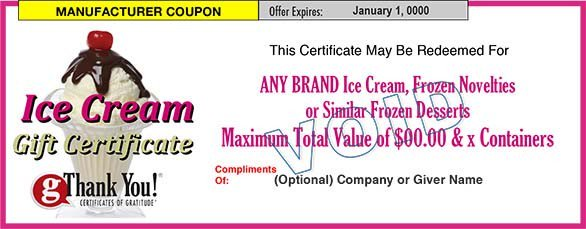 Ice Cream Gift Certificates