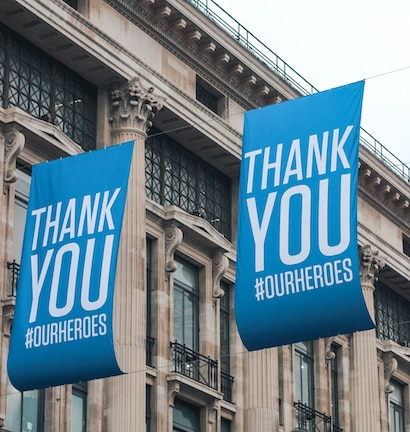 "Outdoor Bannner saying ""ThankYou #OurHeroes"" Photo by Kutan Ural on Unsplash"
