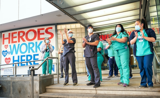 Healthcare workers at the Lenox Health Emergency room