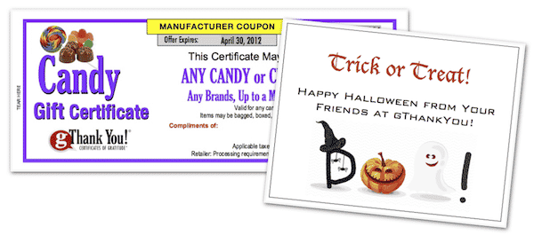 Candy Gift Certificate from gThankYou with Halloween Card