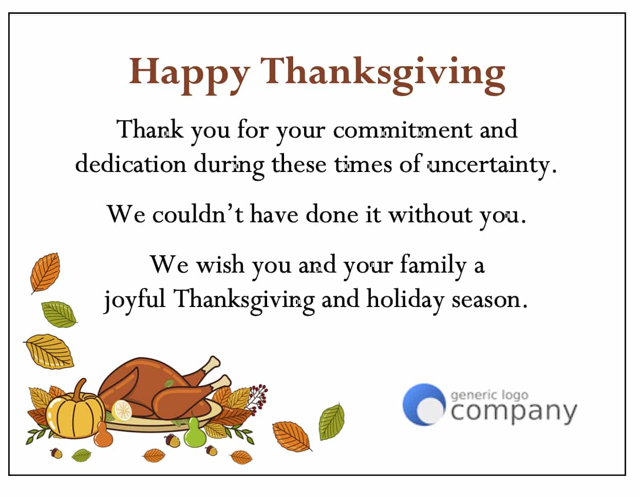 """Happy Thanksgiving"" - Thanksgiving Card Designs"