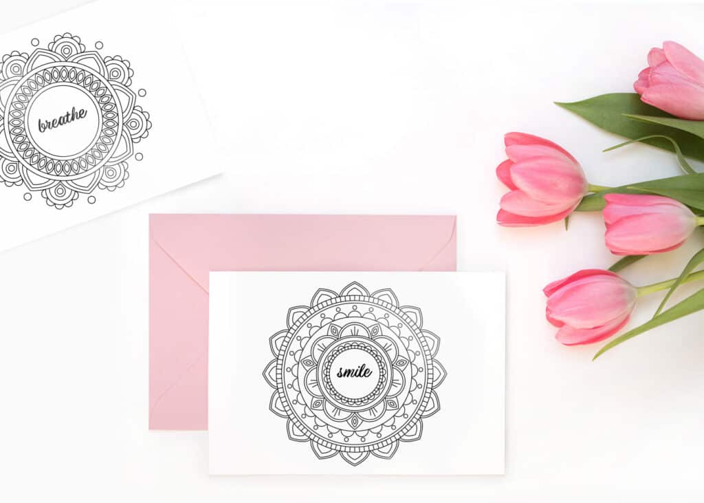 Note cards with mandala designs for reciepients to color themselves!